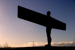 Angel of the North against sky. Silhouette of The Angel of the North, silhouette royalty free stock photos