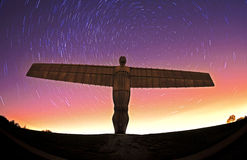 Angel of the north at night with star trails Stock Photography