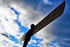 The Angel of the North takes flight! stock images