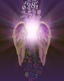 Angel Numbers. A pair of angel wings with burst of divine light behind and a stream of random numbers above and below appearing to be cleansed by the light on a royalty free illustration