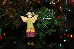 Angel Ornament made of Leaves and Maple Seeds. Hanging on the Christmas Tree stock photography