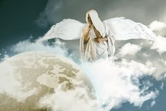 Angel Over Planet Earth Royalty Free Stock Image