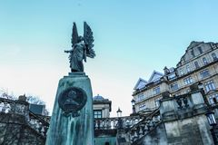Angel of Peace sculpture. To commemorate King Edward VII, the peacemaker, in Parade Gardens, Bath, England Stock Photography