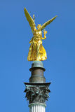 Angel of Peace on the top of Friedensengel monument in Munich, Germany. The monument was founded in 1896 to commemorate the 25 peaceful years after the Franco Stock Photos