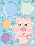 Angel Pig Speech_eps Royalty Free Stock Image