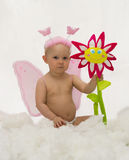 The angel with pink wings (cloud imitation). The Image of the child on a white background Stock Photo