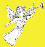 An Angel with a Pipe (vector) Royalty Free Stock Photos