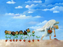 An angel of plant seeds from which children are born royalty free illustration