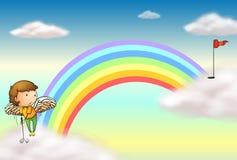 An angel playing golf near the rainbow Stock Image