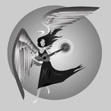 Angel Playing Guitar. An angel with wings and halo playing the guitar.  Black and white image Royalty Free Stock Photo