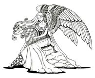 Angel playing a harp Royalty Free Stock Photo