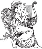 Angel playing lyre. Little girl angel playing lyre . Black and white side view image Royalty Free Stock Photo