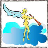 Angel Playing Trumpet. Cartoon drawing of an angel playing a trumpet Stock Photos
