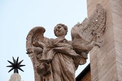Angel on the portal of Sant Andrea della Valle Church in Rome Royalty Free Stock Images