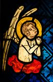 An Angel in prayer. An Angel, a detail of medieval stained glass window stock photos