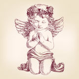 Angel prays on his knees hand drawn vector Royalty Free Stock Photos