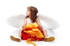 Angel with a present Stock Photo