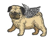 Angel pug puppy color sketch engraving vector. Angel flying pug dog puppy color sketch engraving vector illustration. Scratch board style imitation. Black and royalty free illustration