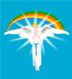 Angel with rainbow. Illustration is an angel behind a rainbow as a symbol of hope and joy Vector Illustration