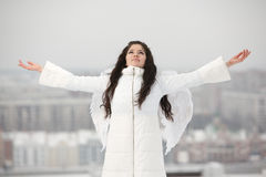 Angel with raised hands looking up Royalty Free Stock Photography