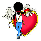 Angel and red heart. Silhouette-man healthcare icon - angel and red heart Royalty Free Stock Photography
