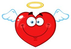 Angel Red Heart Cartoon Emoji vänder mot teckenet med vingar och gloria Royaltyfri Bild