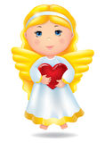 Angel with red heart Stock Photos