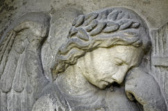 Angel relief. Weathered relief of an Angel - tombstone - old Prague cemetery, Czech republic, Europe Stock Images