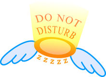 "An angel ring with wings. And light stating ""Do not disturb"" above the ring and the ""zzzz"" under the ring royalty free illustration"