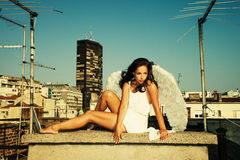Angel on roof Royalty Free Stock Photos