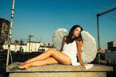 Angel on roof Royalty Free Stock Photo