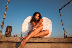Angel on roof Royalty Free Stock Images