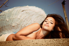 Angel on roof Stock Image