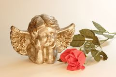 Angel with rose Stock Photos