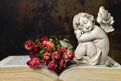 Angel, roses and old book Stock Photography