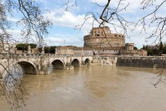 Angel`s Castle and bridge Pons Aelius with river Tiber, Rome royalty free stock photography