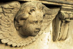 Angel´s head. Sand stone statue Stock Photography