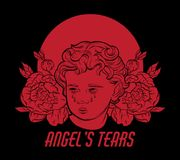 Angel`s tears. Vector hand drawn portrait of Cupid with flowers and nimbus isolated. Illustration made in realistic style. Template for card, poster, banner stock illustration