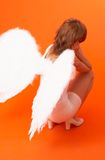 An Angel's Wings. An angel with white wings with her head resting against her hands and her back to the camera stock photo