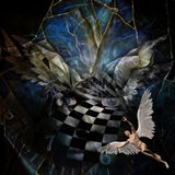Angel`s wings. Surrealism. Angel`s wings. Face in checkered pattern. Naked man with wings represents angel. Spiral of time Stock Images
