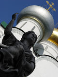 Angel sculpture. In front of the church in Novodevichy (New Maiden) convent built in 1524 royalty free stock photo
