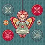 Angel. Set of color Christmas toys. Holiday decorations. Template for design. Winter. New Year decoration. Cut the paper. Eps. Pattern toy. Christmas balls Stock Images