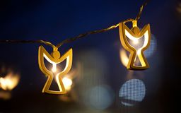 Angel shaped christmas lights Royalty Free Stock Photo