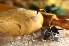 Angel-Shaped Cookie Cutter and Dough Stock Photos