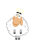 Angel-sheep. Innocent sheep with yellow halo Royalty Free Stock Images