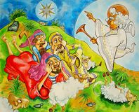 Angel and Shepherds. Cartoon shimmering ink illustration Stock Images