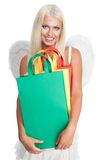Angel shopping with smile Stock Images
