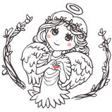 Angel Shows Fingers Heart. Cute little girl with wings and a halo, in dress and wreath, shows heart Stock Photo