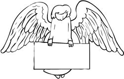 Angel and sign. Black and white angel holding empty sign Royalty Free Stock Photo