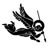 Angel silhouette. Black silhouette of flying angel with spear Royalty Free Stock Photography